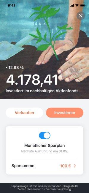 """Detailansicht """"Investieren"""" in der Tomorrow App"""