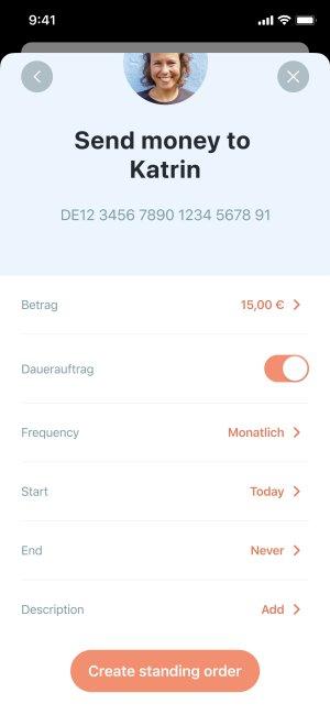 App screenshot of standing orders settings