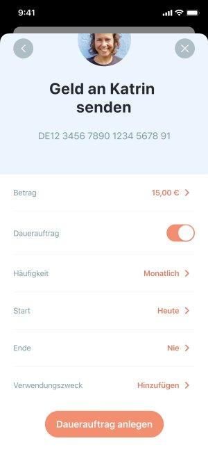 App Screenshot von Dauerauftrag-Einstellungen