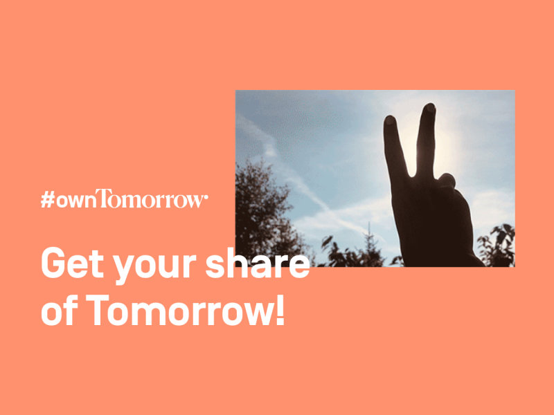 #ownTomorrow 2.0  Get your share of Tomorrow! A hand in front of the blue sky is forming the peace symbol with its fingers