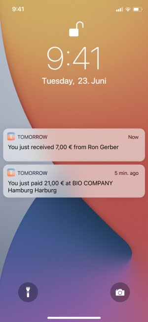 Screenshot of successfully transfer notifications