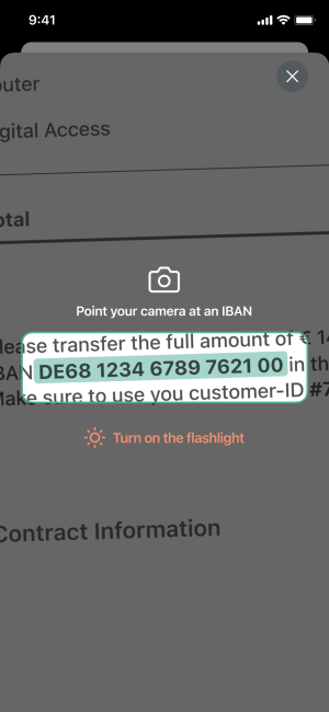 App screenshot of the IBAN scan functionality