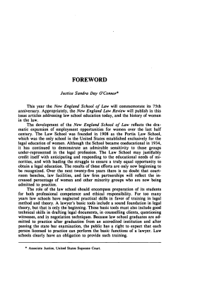 Foreword (to Commemorative Edition: 75th Anniversary of New England School of Law)