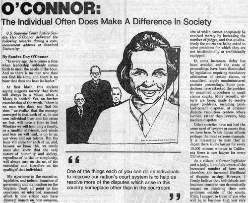 Stanford commencement speech, 1982: The Individual Often Does Make A Difference In Society
