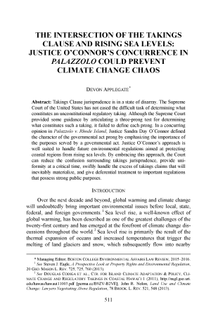 The Intersection of the Takings Clause and Rising Sea Levels: Justice O'Connor's Concurrence in Palazzo Could Prevent Climate Change Chaos