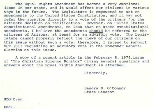 Form letter on Equal Rights Amendment