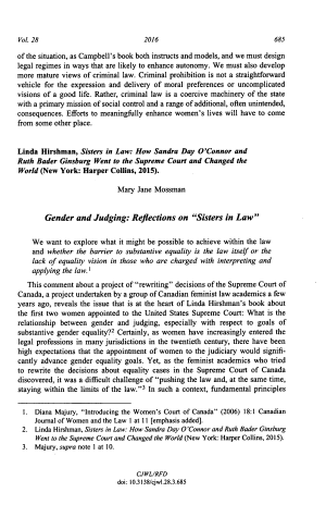 """Gender and Judging: Reflections on """"Sisters in Law"""""""