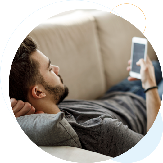 guy laying with phone