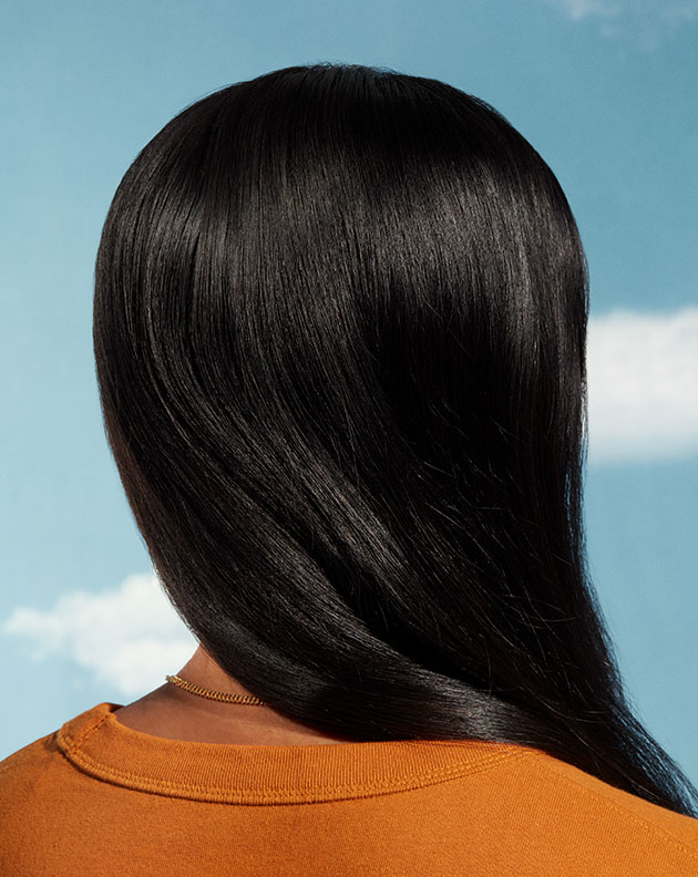 Photo of long, dark hair from behind with a blue sky background