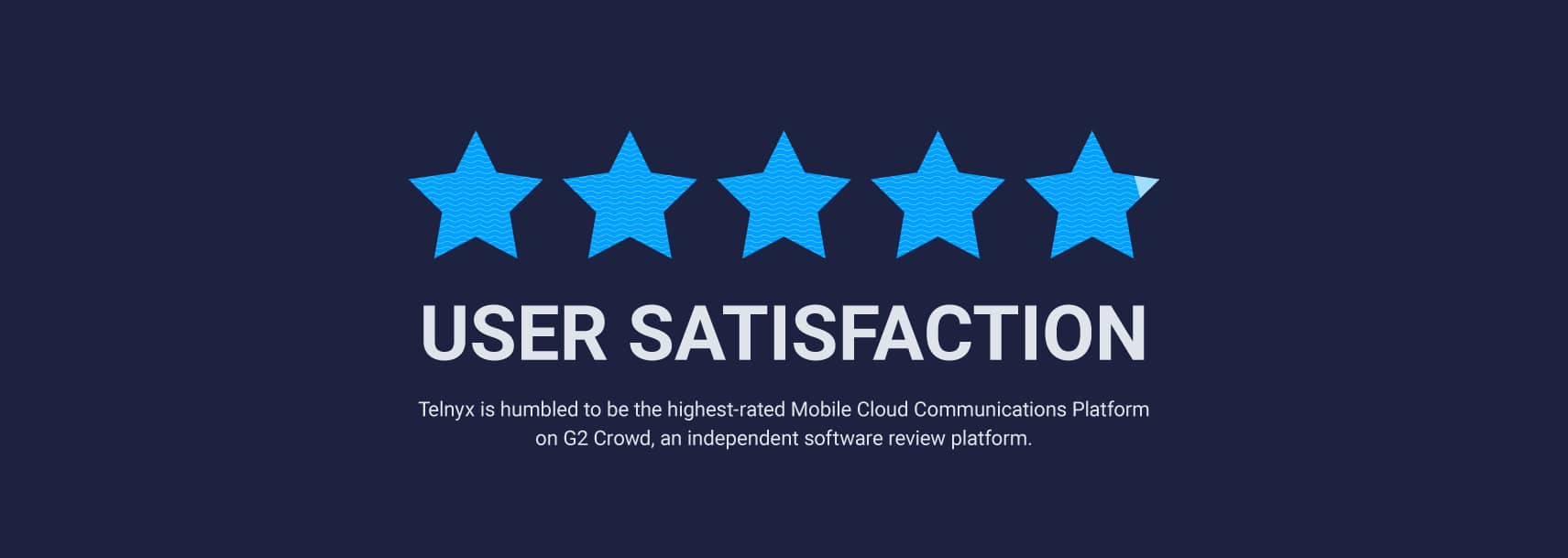 User satisfaction rating at G2