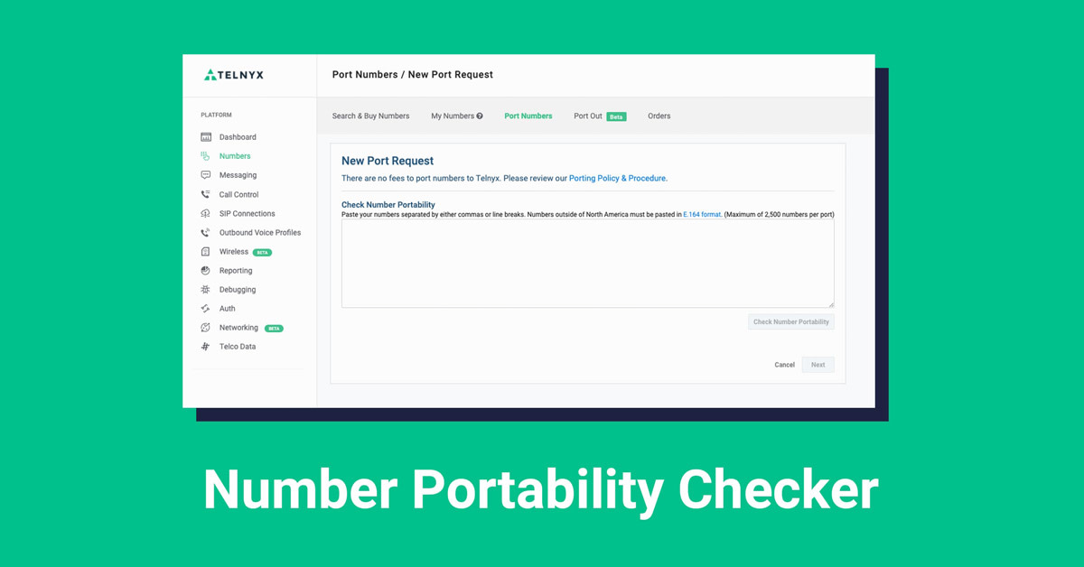 Check Number Portability with the Telnyx Mission Control Portal
