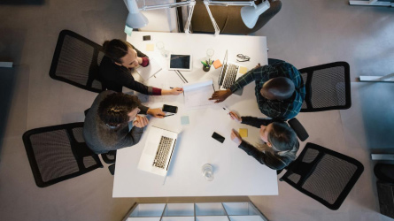 Overhead view of people in a meeting
