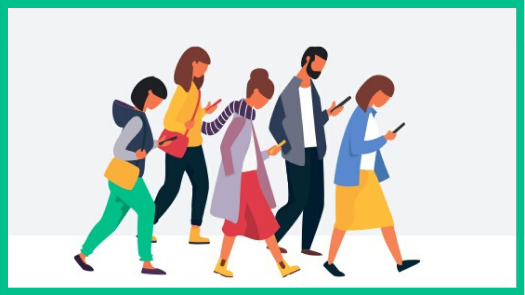 Graphic of people walking with phones