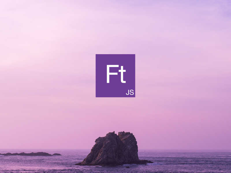 Format.JS icon in the front, ocean with single rock in the background.