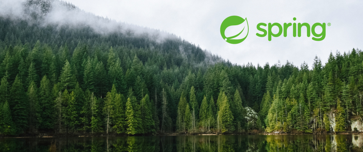 Lake in front of a forest with foggy sky and green Spring Boot logo in the background.