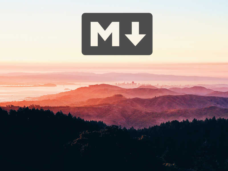 Forest, hills, ocean and city at sunrise with markdown logo.
