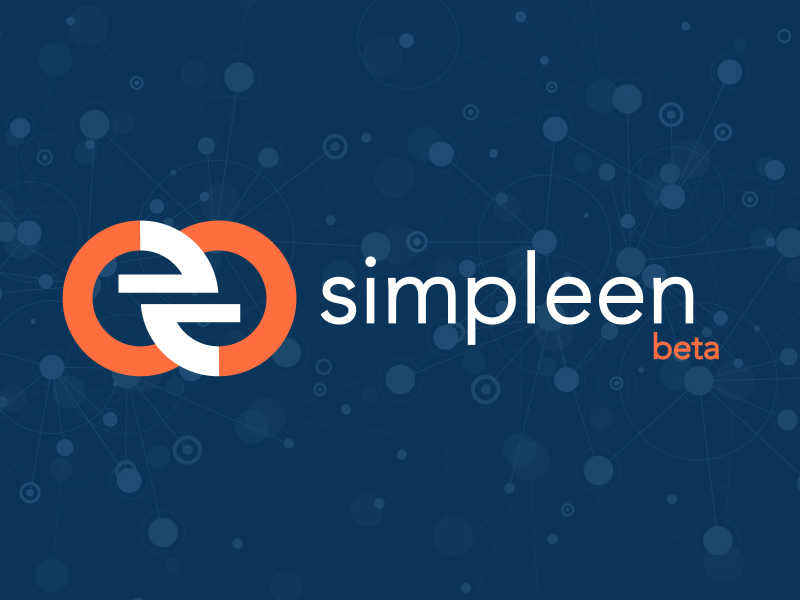 Simpleen Beta text logo on dark blue background with futuristic light-blue transparent dots.