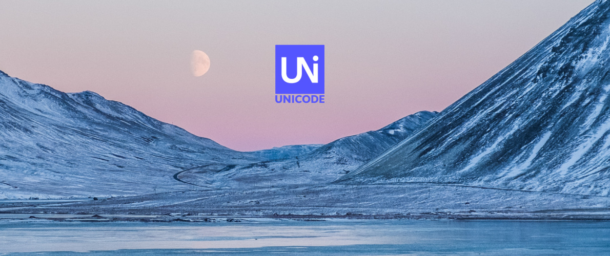 Unicode logo with winter landscape of a frozen lake and mountains in the background.