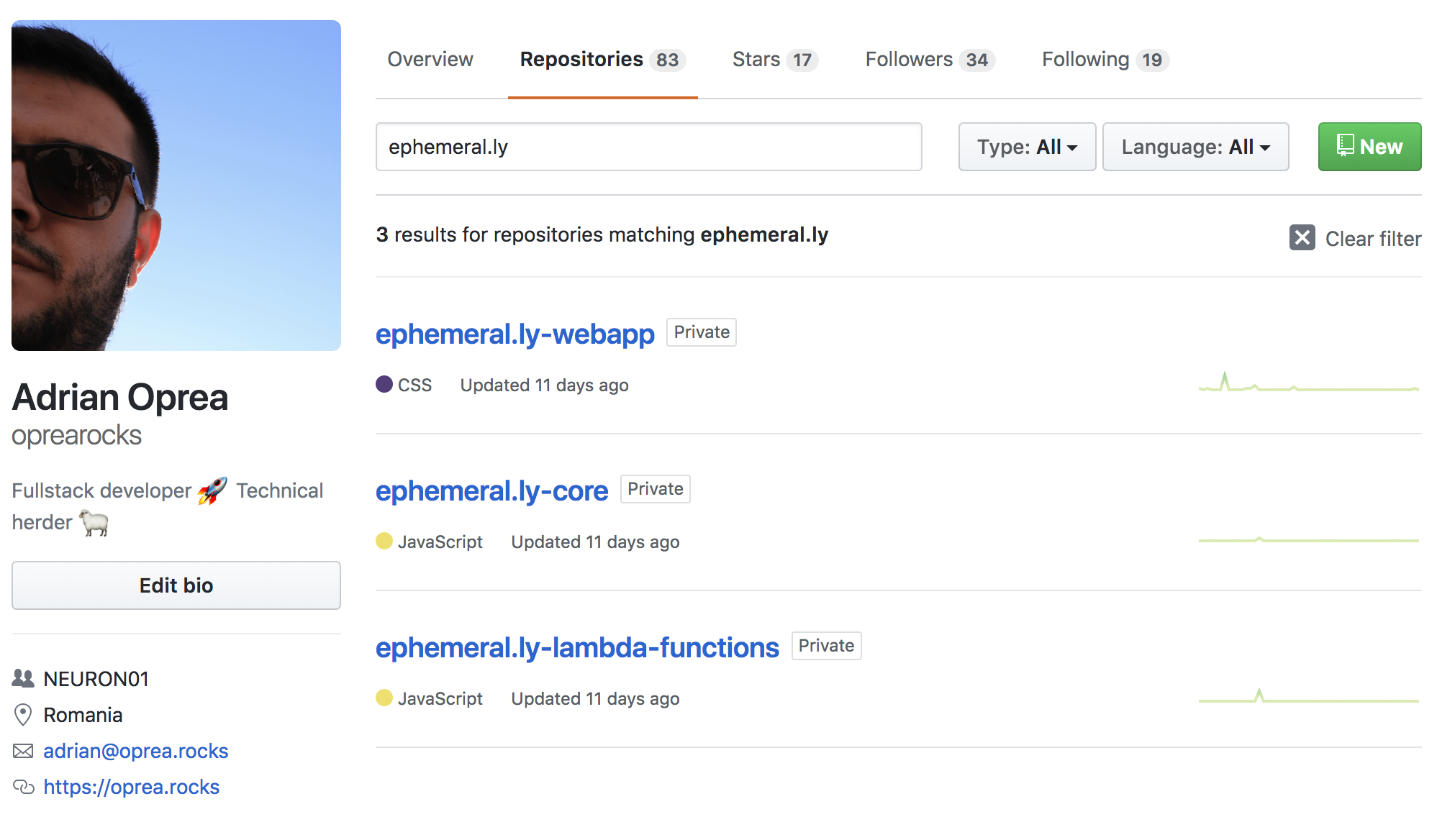 My application modules in GitHub