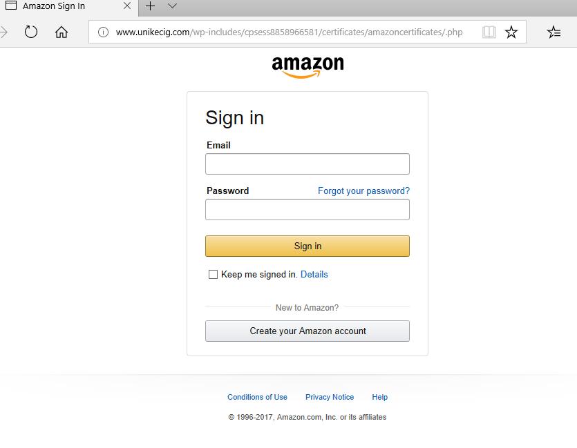 Zscaler targeted phishingAmazon login
