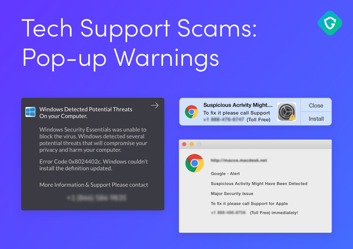 Guardio tech support scams pop ups