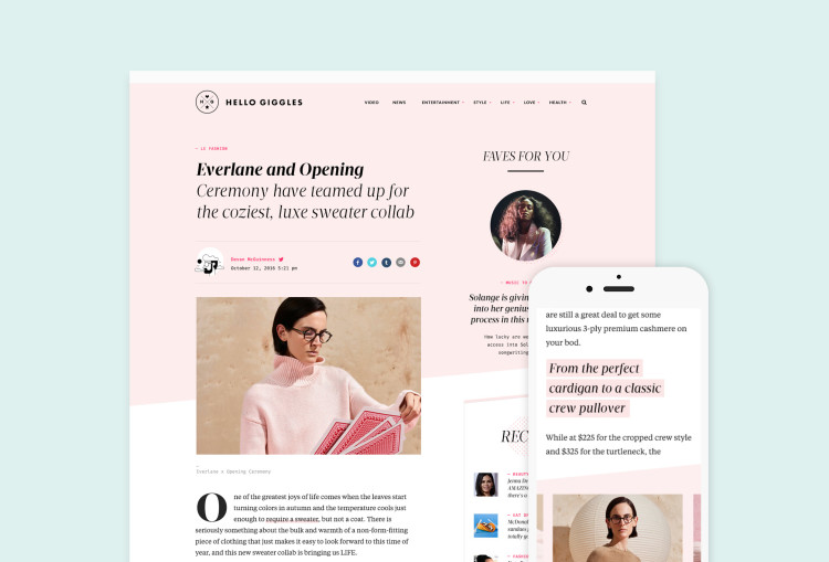 HelloGiggles Web and Mobile Examples
