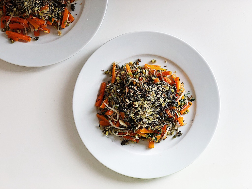 Carrot and sprouted mung bean warm salad