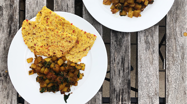 Daikon curry inspired by Smita Chandra with spiced chickpea flat bread