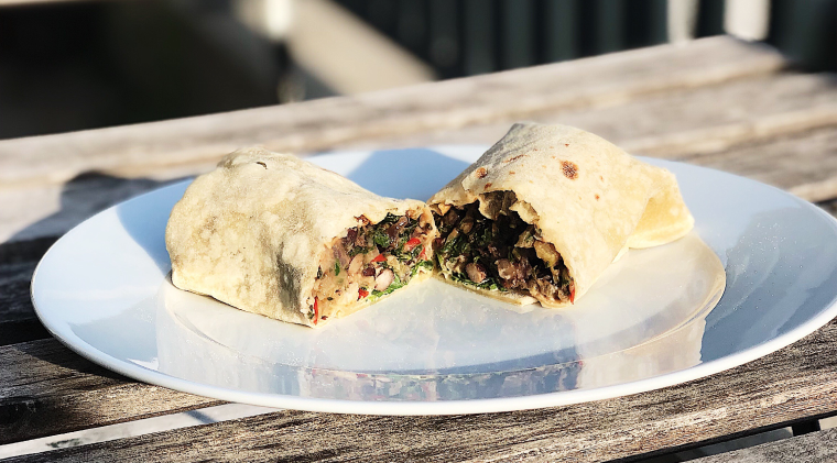 Black bean burritos with swiss chard
