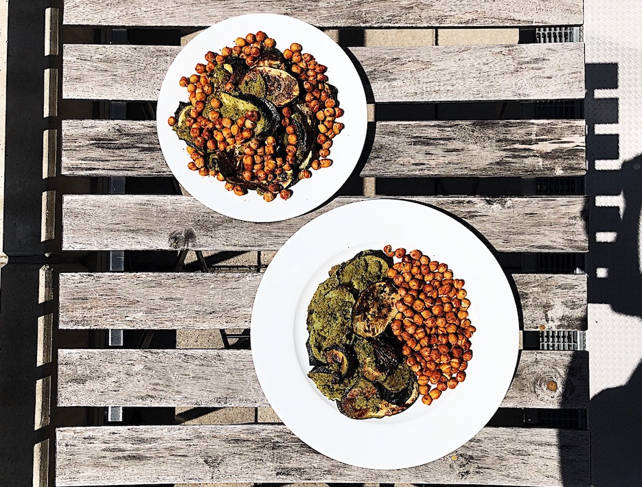 Oven-roasted zucchini with cabbage-peanut pesto and roasted chickpeas