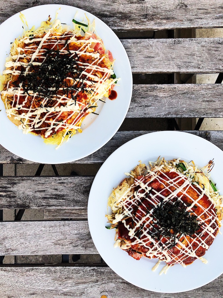 Savory cabbage pancake stack inspired by okonomiyaki