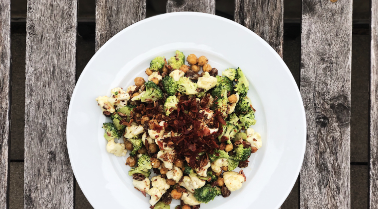 Broccoli, cauliflower, and chickpea salad with coconut curried dressing