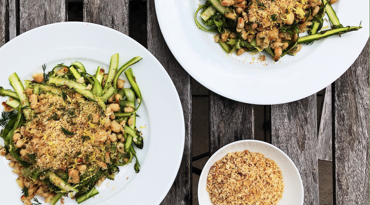 Shaved asparagus salad with crispy navy beans