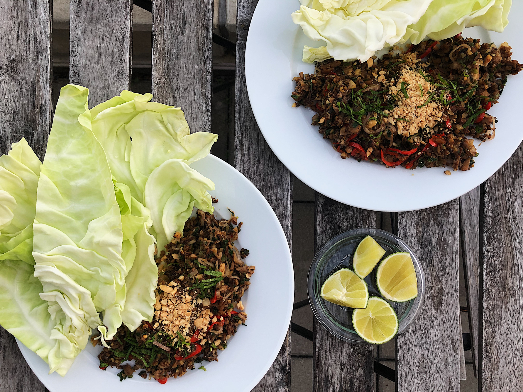 Spicy mushroom larb and cabbage cups