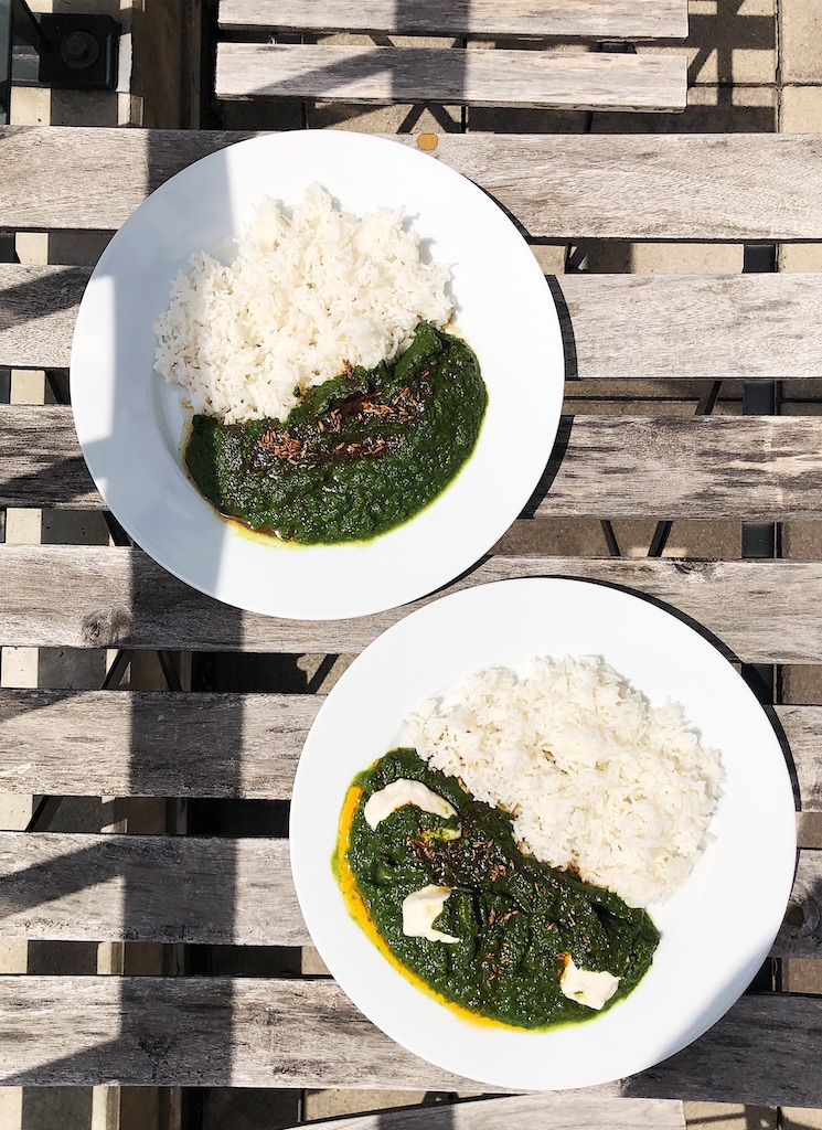 Saag with vegan paneer and basmati rice