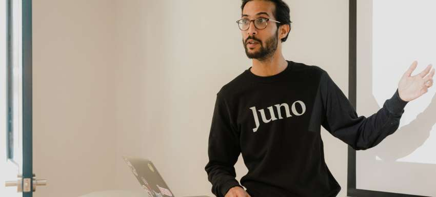 A Juno instructor during a data science lesson