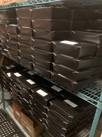 Stacks of prepared meals