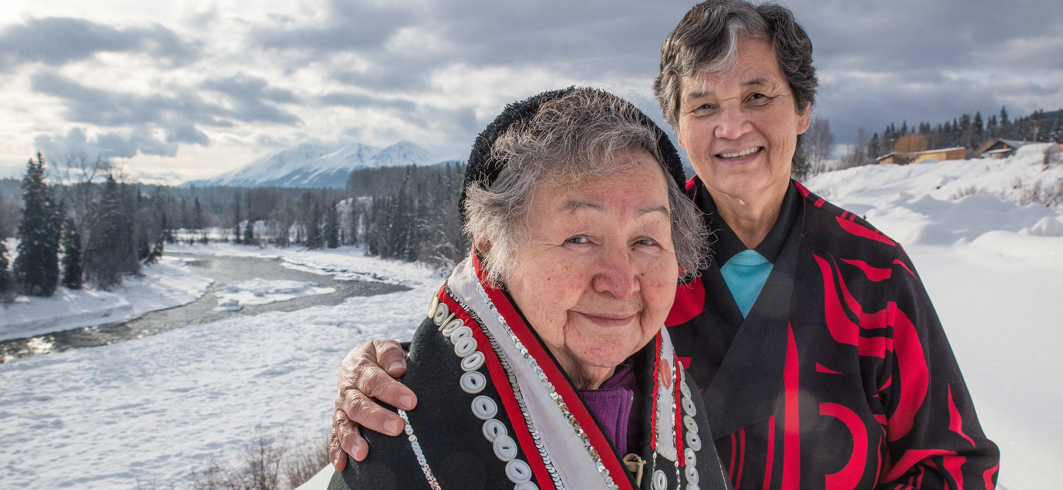 Elder and language mentor Violet Gellenbeck and Lucy Gagnon, treasurer of the Witsuwit'en Language and Culture Society.