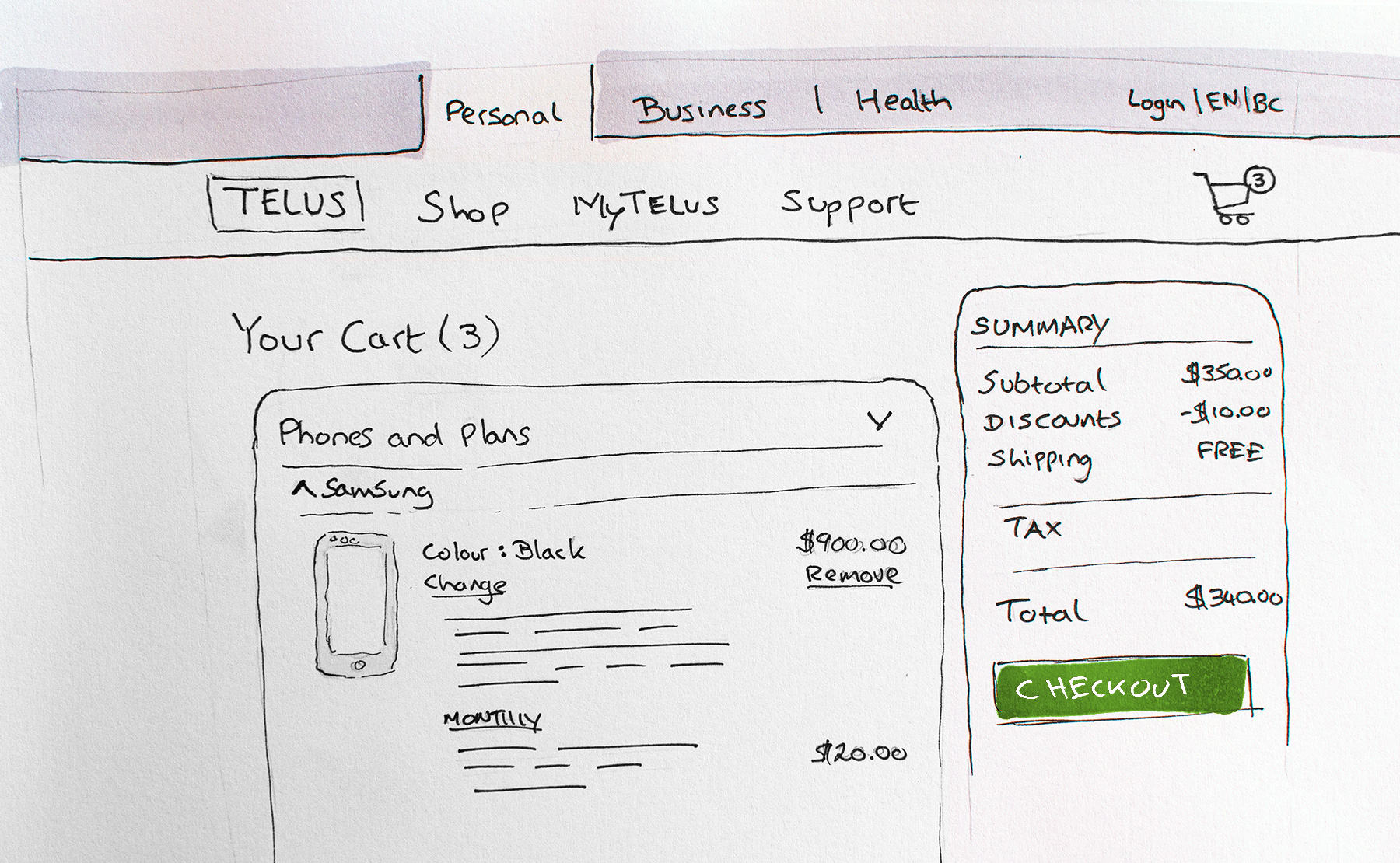 Sketch of TELUS webpage design