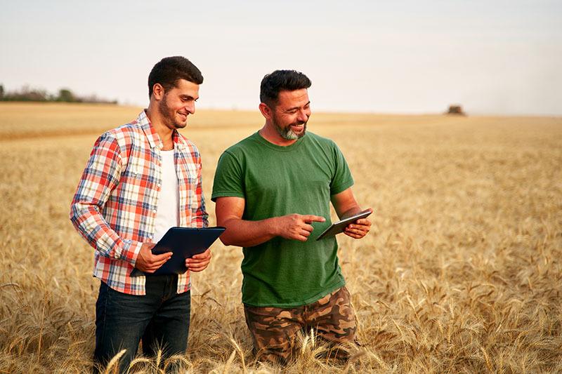 Deux hommes debout dans un champ souriant et regardant une tablette.