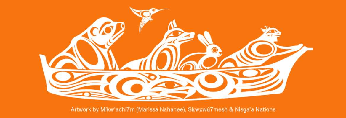 White Indigenous artwork on an orange background depicting a grizzly bear, a hummingbird, a wolf, a rabbit, and a lynx traveling together in a canoe