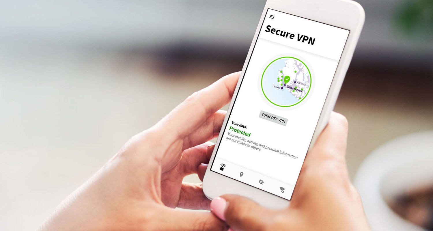 Image of a person viewing a secure VPN interface on a smartphone