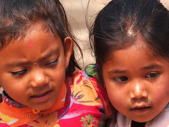 A pair of young Nepalese girls