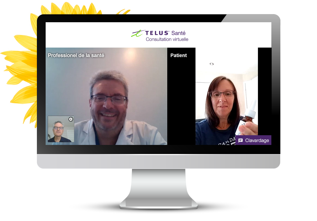 Capture d'écran de la Consultation virtuelle montrant un fournisseur de soins de santé parlant avec un patient sur un écran d'ordinateur.