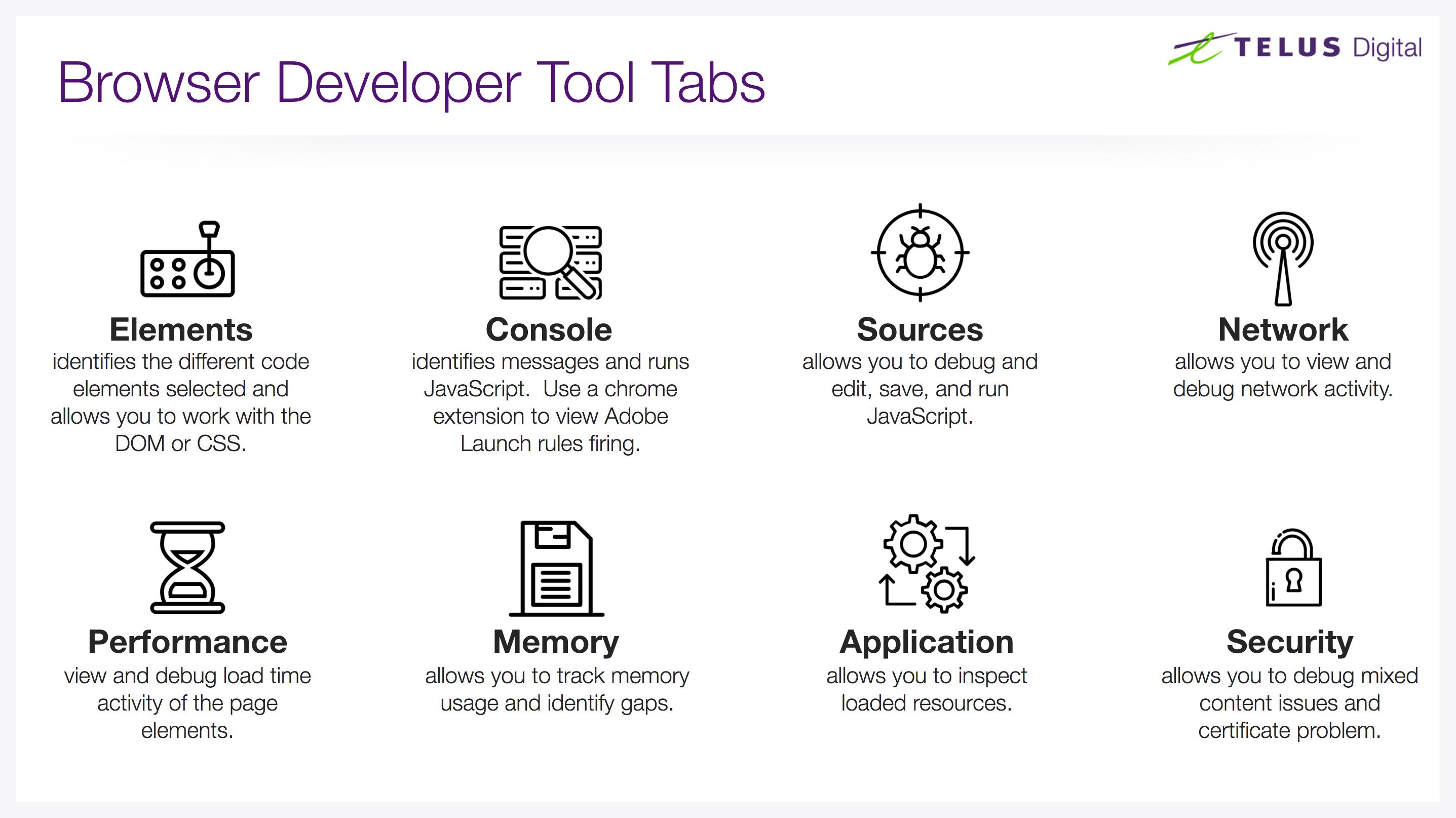 Browser developer tool tabs