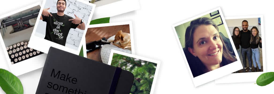 Photographs appear scattered on a surface depicting team members at work, a typewriter, a cat and dog lying together, baby birds in a nest