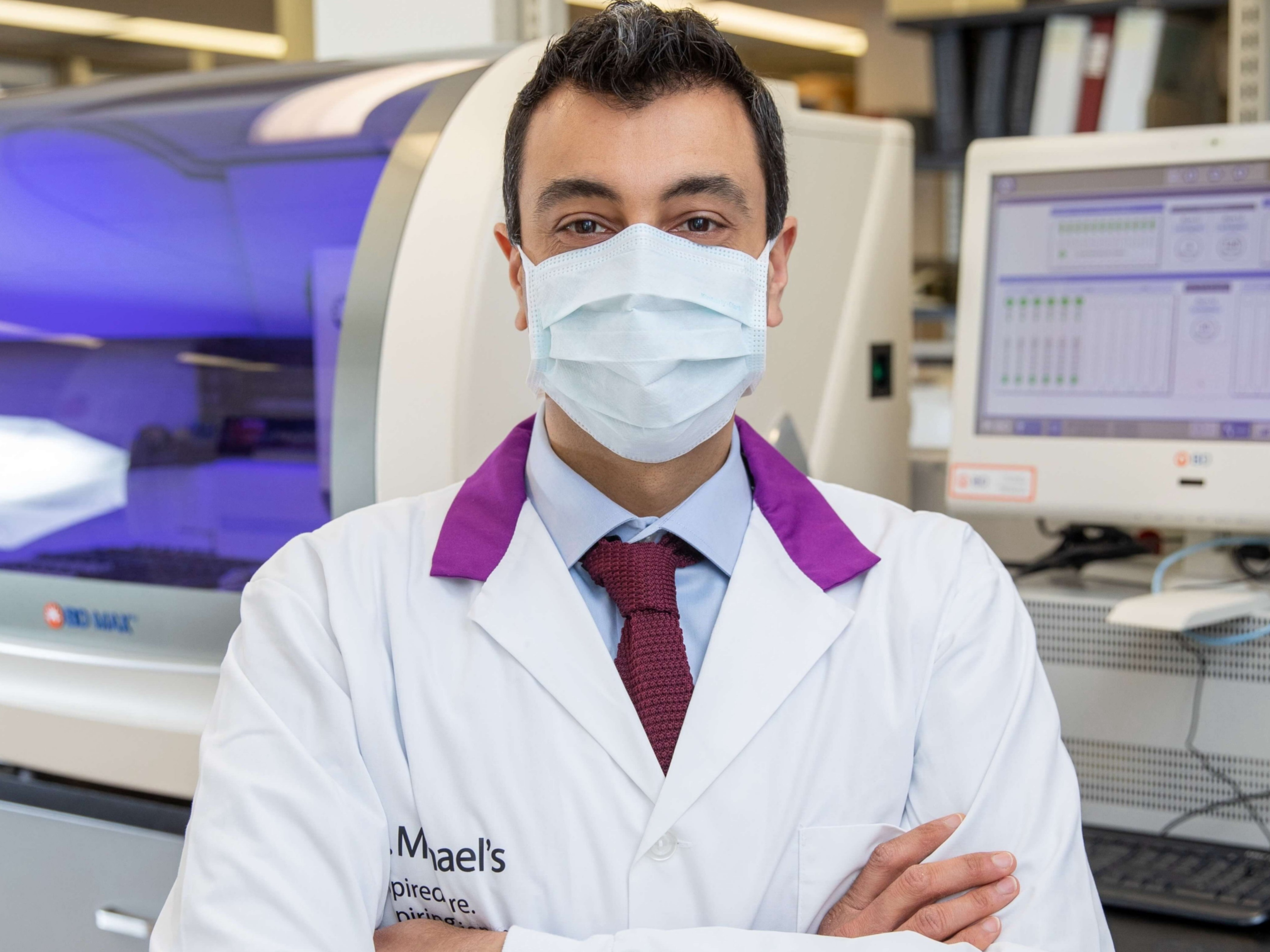 A doctor wearing a mask