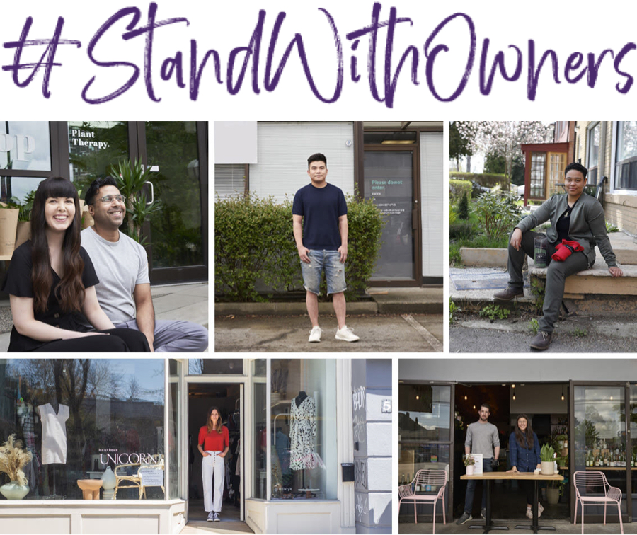 An image of TELUS' #StandWithOwners campaign, which supports businesses across Canada.