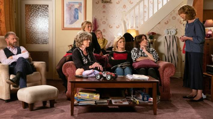 Nick, Sarah, Bethany, Audrey, Leanne, Shona and Gail - Coronation Street - ITV