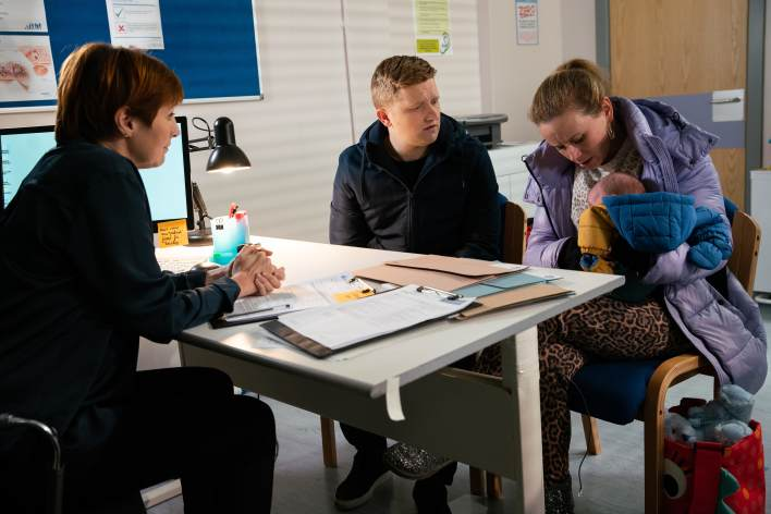 Gemma and Chesney at the Doctor's with Aled - Coronation Street - ITV